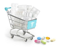 Medicines in a shopping cart Royalty Free Stock Images