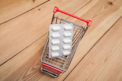 Medicines in shopping cart Stock Photography