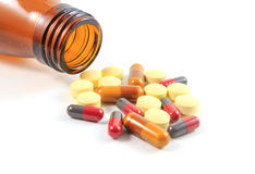 Medicines, supplements and drugs in a bottle. Royalty Free Stock Images