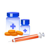 Medicines and syringe vector Stock Photography