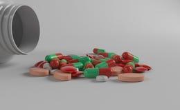 Medicinflaska och mediciner Arkivbild