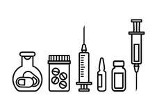 Medicinflaskor med piller, injektionsspruta för injektion med vaccinen, ampull och liten medicinflaska av medicin ocks? vektor f? stock illustrationer