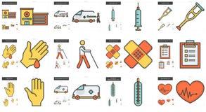 Medicinlinje symbolsuppsättning stock illustrationer