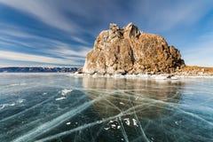 Medicinman Rock, vinter Lake Baikal Ryssland fotografering för bildbyråer