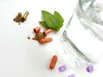 Medicinpiller och exponeringsglas av vatten arkivfoton