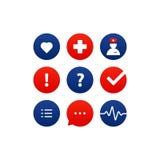 Medicinsk analys, årlig kontroll upp, sjukförsäkringbegreppet, symboler ställde in Royaltyfria Foton