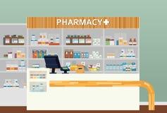 Medicinsk apotek- eller apotekinredesign Kemist eller apotekare, apotek och kliniskt, resande eller gemenskap vektor illustrationer