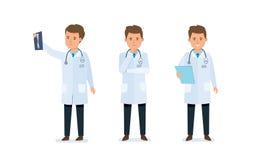 Medicinsk arbetare, doktor som bekantas med resultat, undersökta dokument, meddelade resultat royaltyfri illustrationer