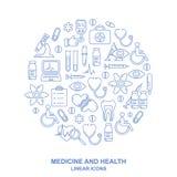 Medicinsk bakgrund för rund form med linjen stilsymboler på vit Medicin och vård- designmodell med moderna linjära symboler royaltyfri illustrationer