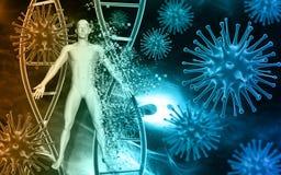 Medicinsk bakgrund med celler för virus 3D och blodceller och man royaltyfri illustrationer