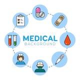 Medicinsk bakgrund med symboler Arkivbild