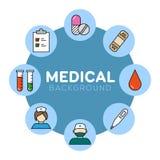 Medicinsk bakgrund med symboler Royaltyfri Fotografi