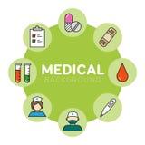 Medicinsk bakgrund med symboler Arkivfoto
