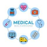 Medicinsk bakgrund med symboler Fotografering för Bildbyråer