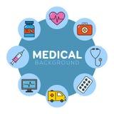 Medicinsk bakgrund med symboler Royaltyfria Foton