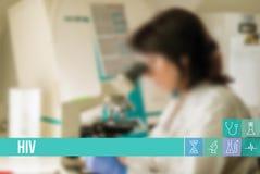 Medicinsk begreppsbild för HIV med symboler och doktorer på bakgrund Royaltyfria Foton