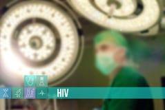 Medicinsk begreppsbild för HIV med symboler och doktorer på bakgrund Royaltyfria Bilder