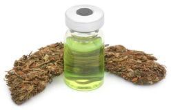 Medicinsk cannabis med den medicinska drogen i en liten medicinflaska Royaltyfria Foton