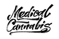 Medicinsk cannabis Modern kalligrafihandbokstäver för serigrafitryck Royaltyfri Bild