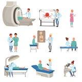 Medicinsk diagnostik och behandling av canceruppsättningen, doktorer, patienter och utrustning för oncologymedicinvektor royaltyfri illustrationer