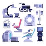 Medicinsk diagnostisk undersökningsutrustning Vektorillustration av MRI-, gynekologi- och tandläkarestol, ultraljudmaskin royaltyfri illustrationer
