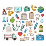 Medicinsk doddleuppsättning stock illustrationer