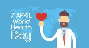 Medicinsk doktor Hold Red Heart Shape över den vård- dagmedborgaren April Holiday för världskarta Arkivfoton