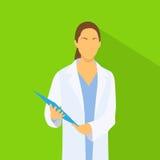 Medicinsk doktor Profile Icon Female med mappen royaltyfri illustrationer