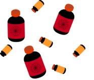 Medicinsk eller kosmetisk modell för vektor med flaskminnestavlor stock illustrationer