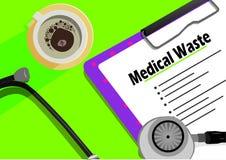 Medicinsk förlorad text på den gembräde, koppen kaffe och stetoskopet royaltyfri illustrationer
