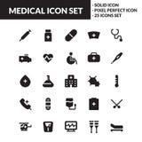 Medicinsk fast symbolsuppsättning stock illustrationer