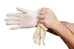 Medicinsk handske till skydd och omsorg Royaltyfria Foton