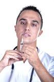 medicinsk injektionsspruta för man Royaltyfria Bilder