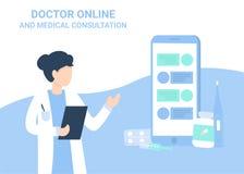 Medicinsk konsultation för doktorskvinna- och telefonchaе vektor illustrationer