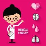 Medicinsk kontroll upp med kvinnadoktorstecken Arkivfoton