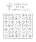 Medicinsk linje symbolspacke Royaltyfria Bilder