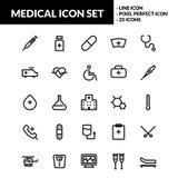 Medicinsk linje symbolsuppsättning royaltyfri illustrationer