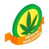 Medicinsk marijuanaetikettsymbol, isometrisk stil 3d royaltyfri illustrationer