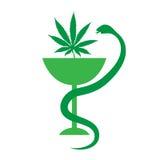 Medicinsk marijuanalogosymbol Medicinsk cannabis också vektor för coreldrawillustration Royaltyfri Bild