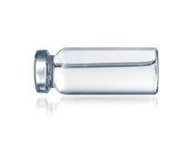 Medicinsk närbild för Glass liten medicinflaska som isoleras på en vit Royaltyfri Fotografi