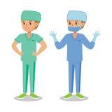 Medicinsk personal, kirurgkvinna isolerad vit kvinna för bakgrund doktor gullig flicka för tecknad film Arkivfoton