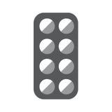 Medicinsk preventivpillerask Gray Icon On White Background Royaltyfri Foto
