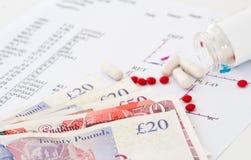 Medicinsk rapport och pengar Arkivfoto