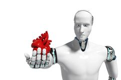 Medicinsk robotbegreppsrobot för tolkningen för bakgrund 3D för bruksläkarundersökning den vita - illustration stock illustrationer