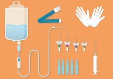 Medicinsk sats för intravenösa tillvägagångssätt Medicinskt gods för intravenösa injektioner Royaltyfria Foton