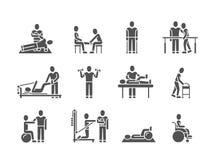 Medicinsk sjukgymnastik- och folkrehabiliteringbehandling svärtar konturvektorsymboler stock illustrationer