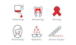 Medicinsk specialiseringsymboluppsättning, hematology, tandläkekonst, oncology, allmän kirurgi, optometry, dermatologivektor vektor illustrationer