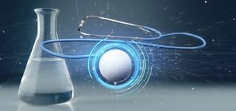 medicinsk stetoskop för tolkning som 3d isoleras på en medicinsk backgroun Royaltyfria Bilder
