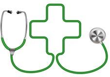Medicinsk stetoskop med korset royaltyfri illustrationer