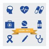 Medicinsk stil för symbolsuppsättninglägenhet stock illustrationer